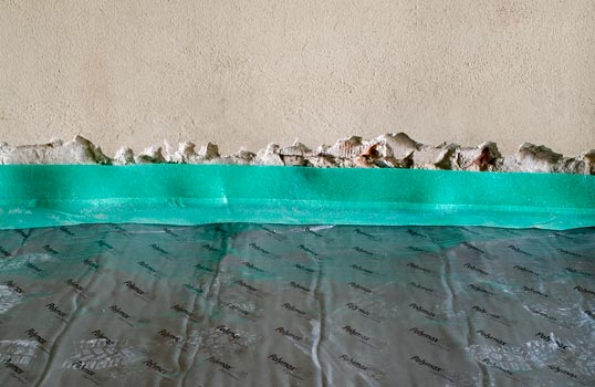 Particolare di materiale elastico in piombo per diminuzione rumore da calpestio